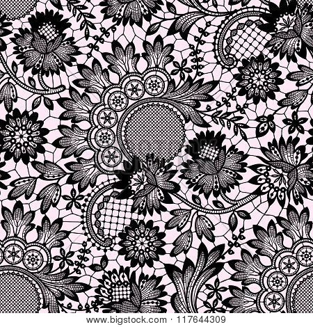 Black Vector Lace. Seamless Pattern.