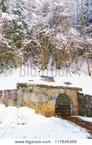 Entrance to the Salt mines of Sel des Alpes in Bex of Switzerland in winter. The Salt Mining Complex is listed as Swiss heritage site of national significance.