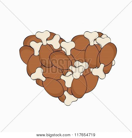 Vector modern gammon in a heart on white