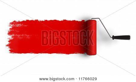 Escova de rolo vermelho com rastro de tinta
