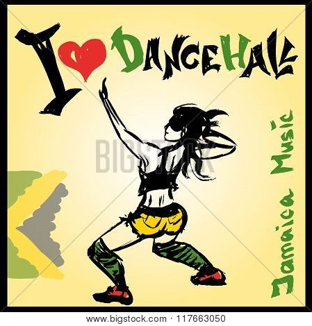 Dancer dancehall style, hand drawing
