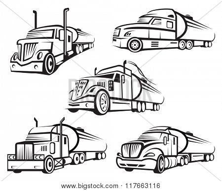 monochrome set of four tank truck