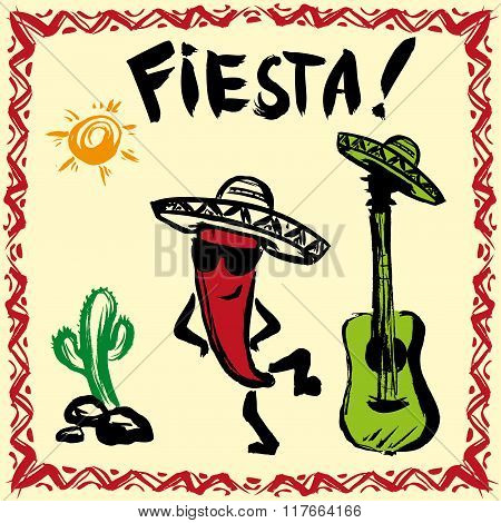 Mexican Fiesta Party Invitation with maracas, sombrero and guita