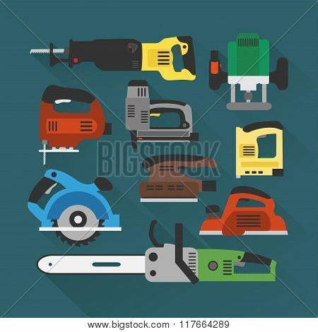 Builders tools modern flat background