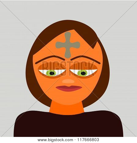 Stylized head of a person of indeterminate gender and age, with gray cross on his forehead.