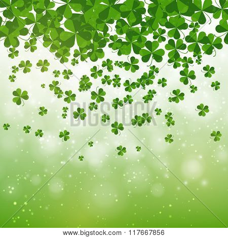 Happy Saint Patrick's Day Background Design, Postcard, Template, Invitation, Green Shamrock Leaves,