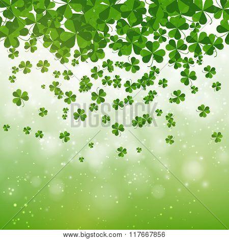 Happy Saint Patrick's Day Background Design, Postcard, Template, Invitation, Green Shamrock Leaves,