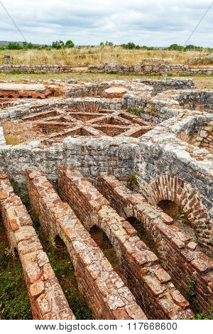 Hypocaust structure used to heat the Baths water of the Cantaber Domus House. Conimbriga in Portugal, is one of the best preserved Roman cities on the west of the empire.