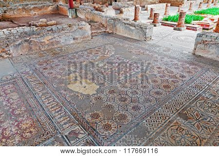 Very complex and elaborate Roman mosaic pavement in the House of the Fountains. Conimbriga in Portugal, is one of the best preserved Roman cities on the west of the empire.