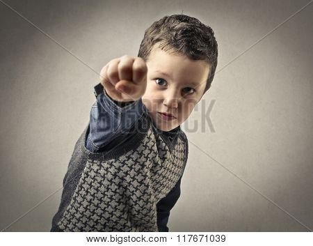 Pointing young kid