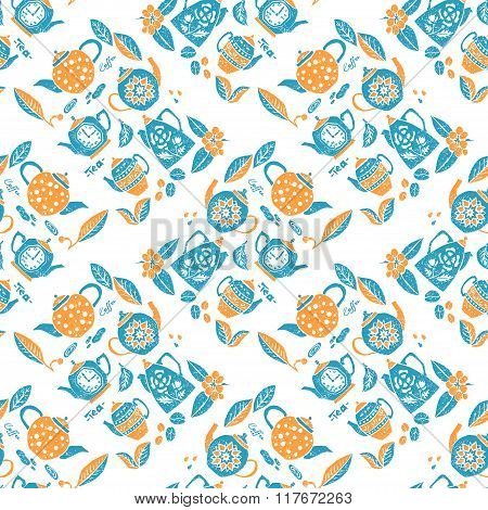 Seamless pattern in lino style, teapots anf leaves