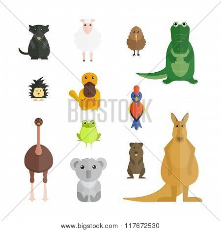 Australia wild animals cartoon vector collection