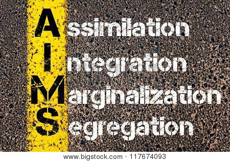 Concept image of Business Acronym AIMS Assimilation Integration Marginalization Segregation written over road marking yellow paint line. poster