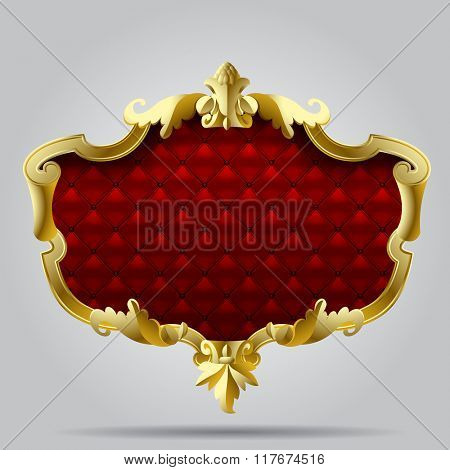 Gold vintage frame with red button-tufted leather background. Vector illustration