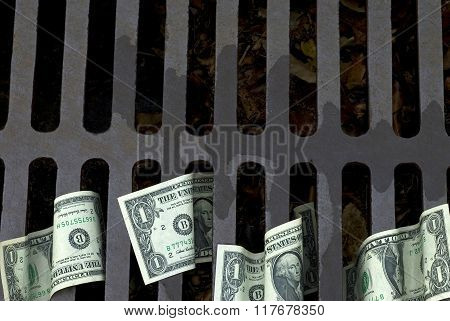 Us Dollar Bills Down The Drain
