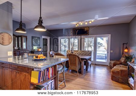 Beautiful open concept kitchen and diningroom with waterfront view