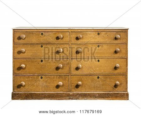 Old Chest, Dresser Isolated On White
