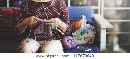 Hobby Crochet Senior Adult Hobby Handicraft Concept