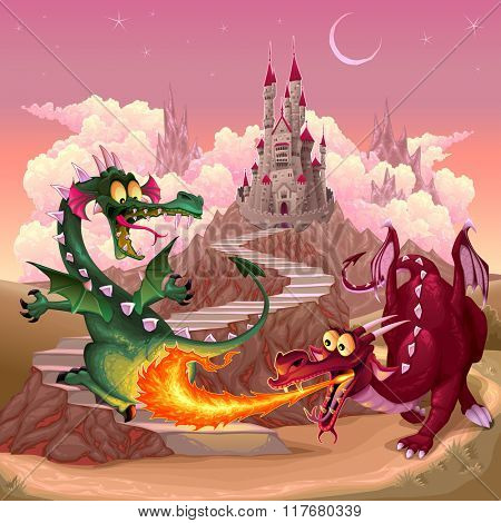 Funny dragons in a fantasy landscape with castle. Cartoon vector illustration