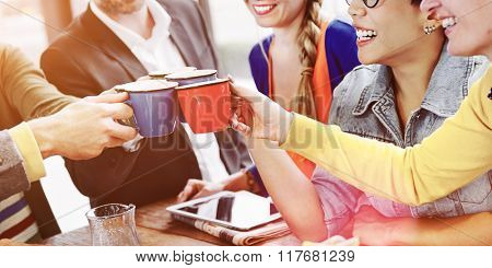 People Cheers Coffee Happiness Friends Concept