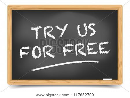 detailed illustration of a blackboard with Try for Free text, eps10 vector, gradient mesh included