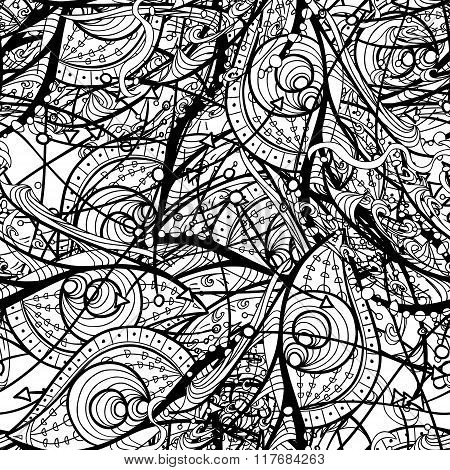 Doodle Outline Seamless Pattern