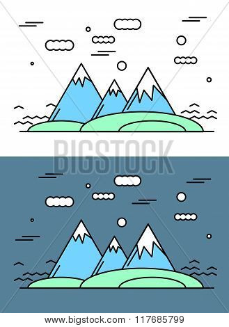 Outline Mauntain Vector Illustration. Nature Landscape With Meadow. Line Style Design.