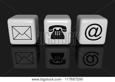 Contact us: white cubes on a black background