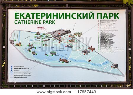 Layout Of The Catherine Park In Pushkin (tsarskoe Selo), Russia