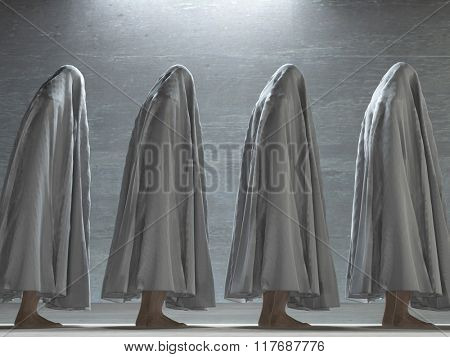 Figures covered in gray