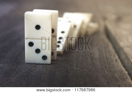 Bones Of Dominoes On Wooden Background