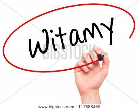 Man Hand Writing Witamy (welcome In Polish) With Black Marker On Visual Screen.
