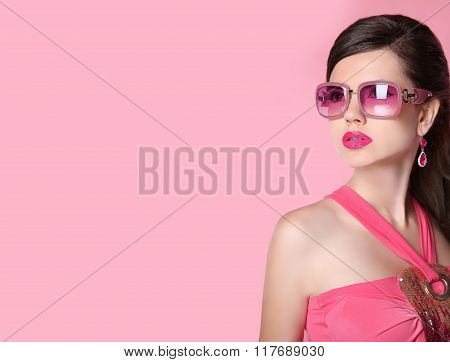 Beauty Fashion Model Girl In Sunglasses With Bright Makeup, Long Hair, Luxury Earrings Jewelry. Glam