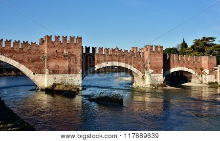 Scaliger Bridge Over Adige River In Verona, Italy