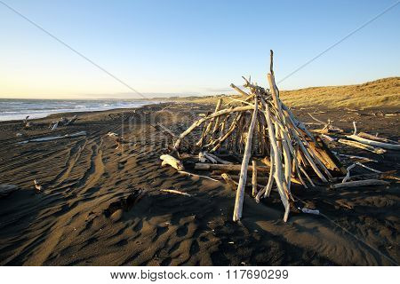 Driftwood hut on black sand beach