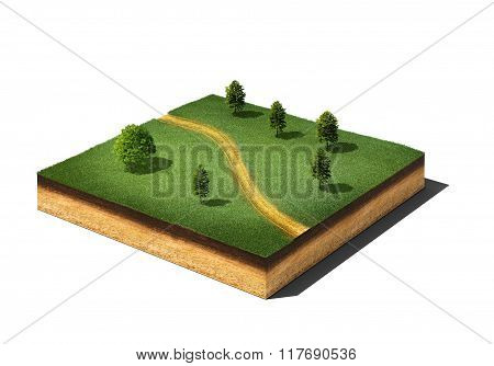 Ground Cutaway With Grass, Trees And Footpath Isolated On White