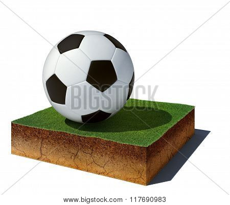 Dirt Cube With Soccer Ball Isolated On White Background