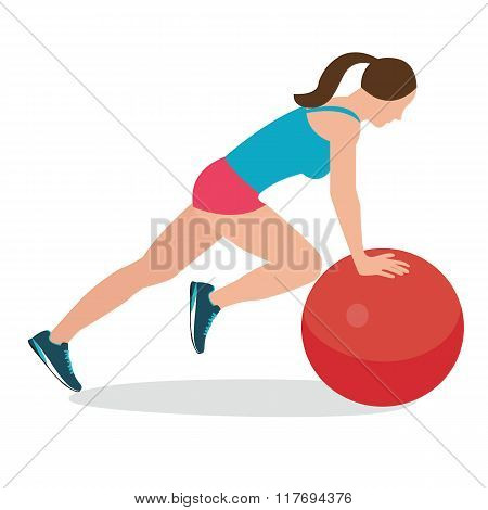 woman fitness position using stability ball excercise gym training workput balance female