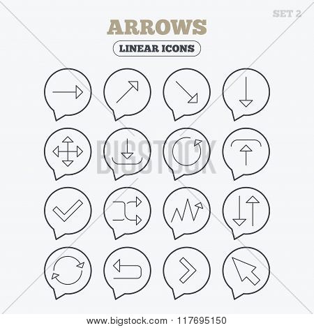 Arrows line icons. Download, upload, check or tick symbols. Refresh, fullscreen and shuffle thin outline signs. Linear icons in speech bubbles. poster