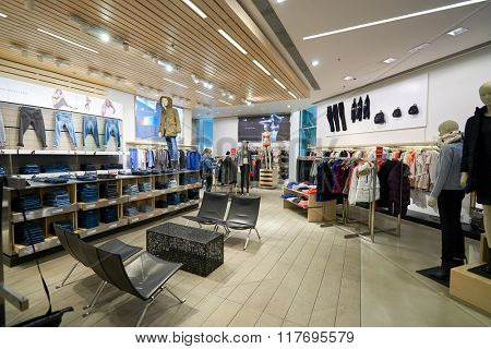 HONG KONG - JANUARY 26, 2016: inside of Calvin Klein store at Elements Shopping Mall. Calvin Klein Inc. is an American fashion house founded by the fashion designer Calvin Klein.