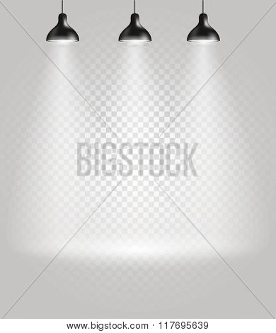 Bright stage with the spotlights. Transparent background