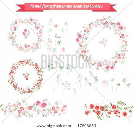 Floral spring elements with cute bunches of tulips and roses. Endless horizontal  pattern brushes. For romantic and easter design, announcements, greeting cards, posters, advertisement.