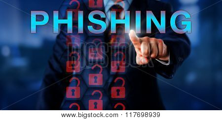 IT administrator pushing PHISHING. Red unlocked padlock icons in a hexagonal security matrix do represent an exploit of current web security technology and a malicious attack on sensitive data. poster