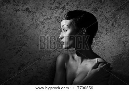 Young African Model Posing Nude In Black And White