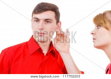 Woman Telling Man Some Secrets, Couple Talking