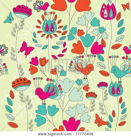 A Seamless Retro Style Pattern with Birds and flowers