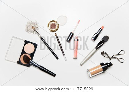 cosmetics, makeup and beauty concept - close up of makeup stuff