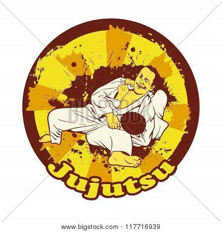 Colorful Vector Illusnration With Brazilian Jiu Jitsu Fighters.