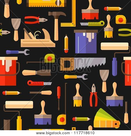 Seamless Pattern With Tools For Repair.