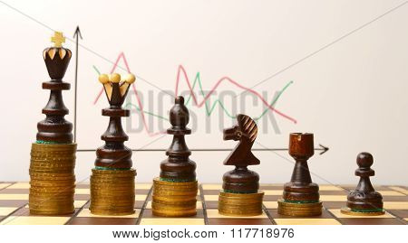 Chess figures on a stack of coins